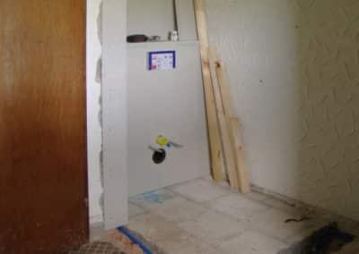 Entfernung Wand, Einbau WC