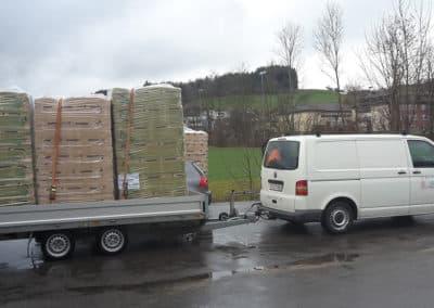 Transport der Holzfaserdämmung