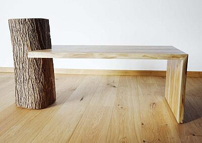 Salontisch aus Ulmenholz